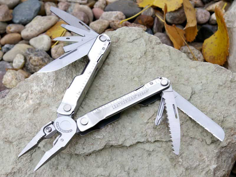 Leatherman Rebar opened to expose its tools