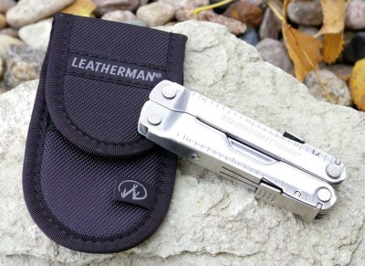Leatherman Rebar with case set on a rock