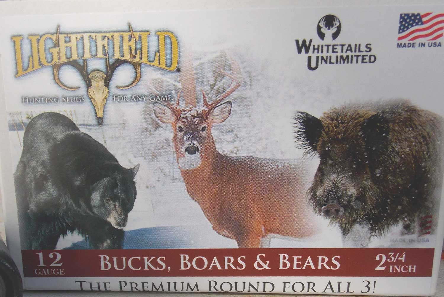 Lightfield Bucks, Boars & Bears shotgun shell box