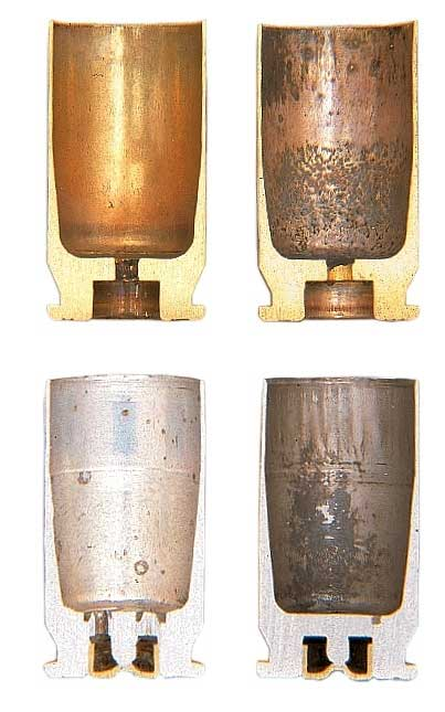 Cutaway of four pistol cartridge cases