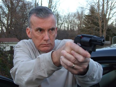 Scott Wagner with the Smith and Wesson Bodyguard with Crimson Trace laser engaged