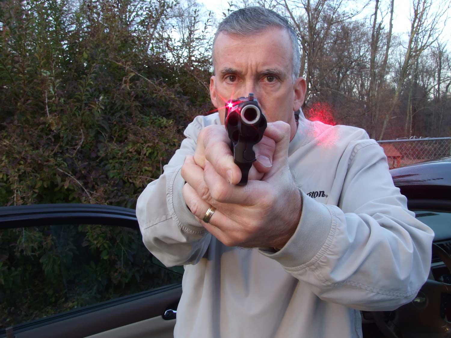 Scott Wagner aiming the Crimson Trace laser on the S&W Bodyguard .38 Spl