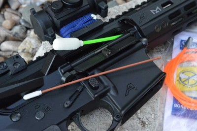 Swab-Its Bore-whip in the chamber of an AR-15