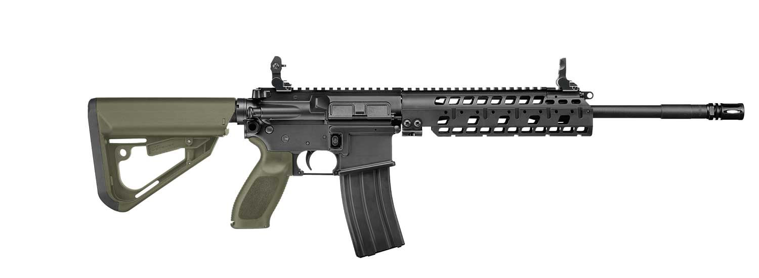 SIG Patrol Rifle right with green A2 handgrip and adjustable stock