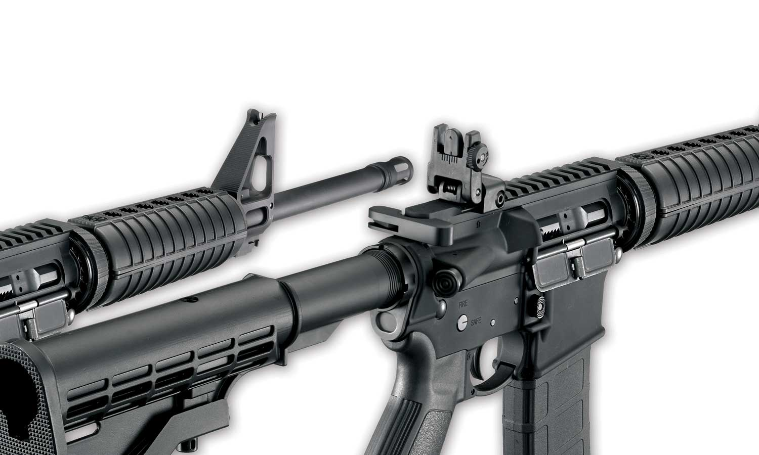 Ruger AR 556s showing iron sights
