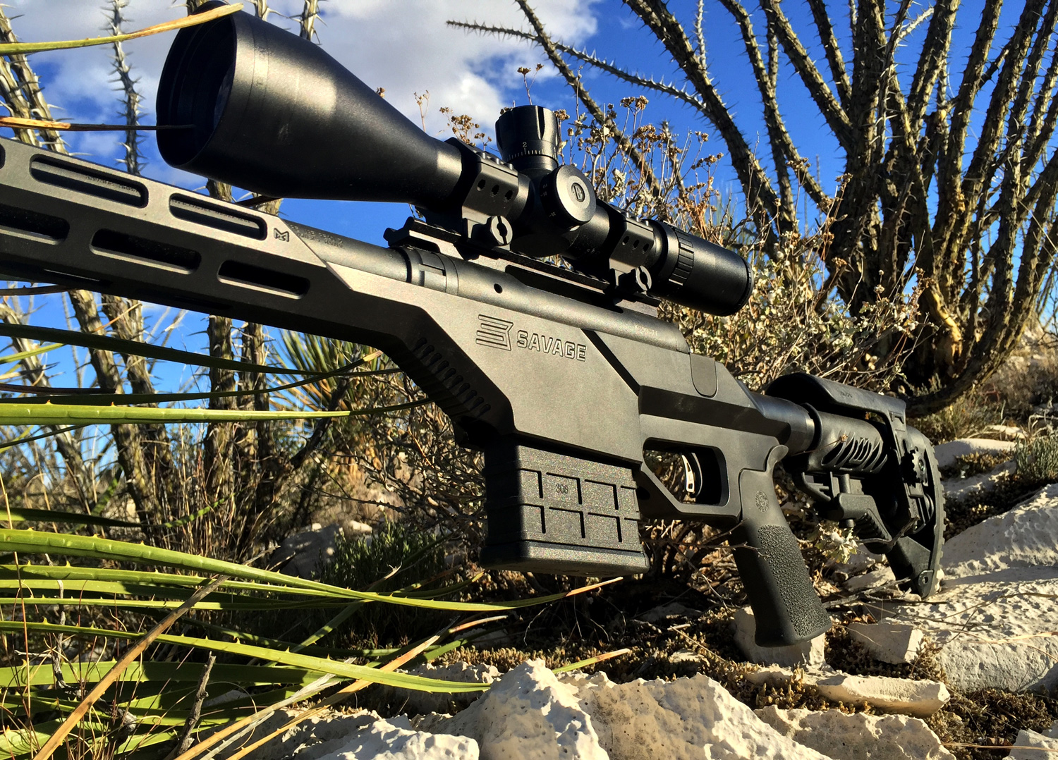 Savage 100 BA Stealth with Bushnell Elite Tactical LRS 6-24x 50mm Riflescope and Weaver scope rings