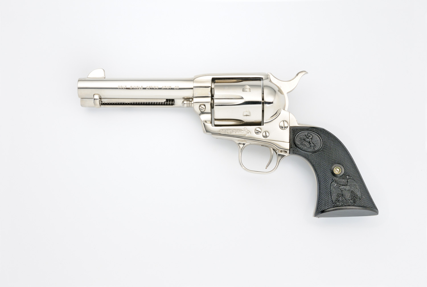 Colt SAA with 4 ¾-inch barrel, chrome left side