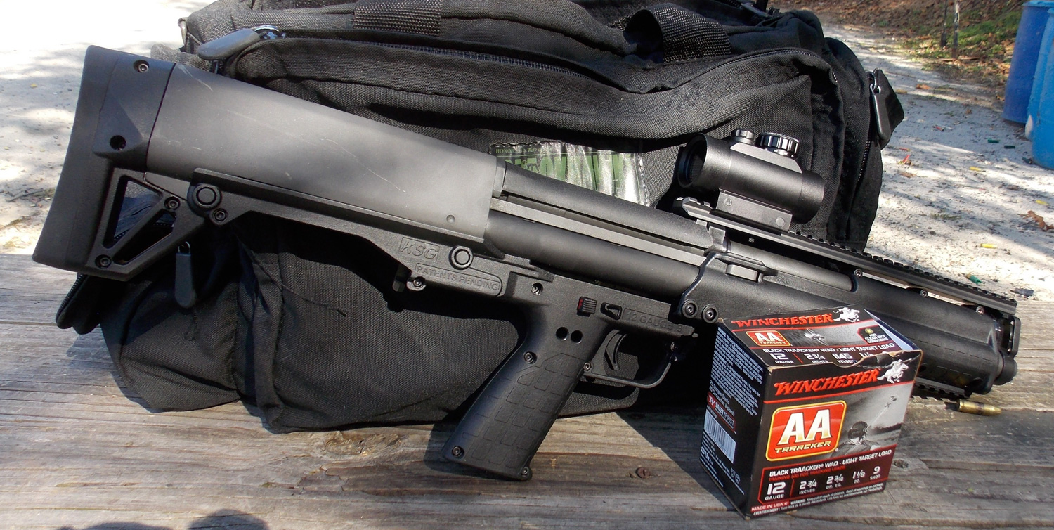 Kel-Tec KSG shotgun with a box of Winchester AA Shotshells