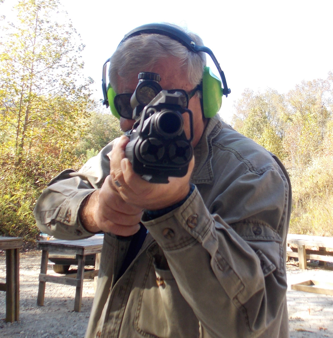 Author Bob Campbell shooting the Kel-Tec KSG with TruGlo sight - front