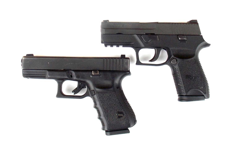 SIG Sauer and Glock pistols