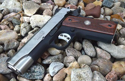 Ruger SR1911 left on bed of rocks