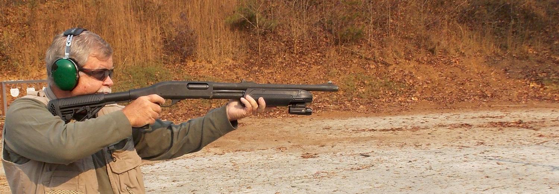 Demonstrating a proper cheekweld when shooting a shotgun