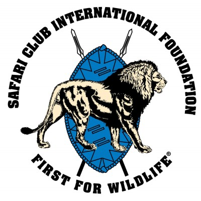 Safari Club International logo of a lion and shield