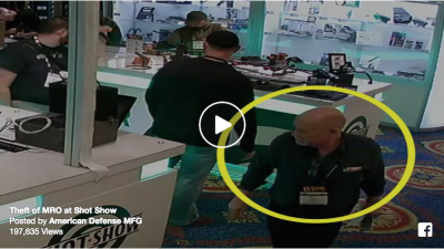 Facebook video still of man stealing a Trijicon MRO