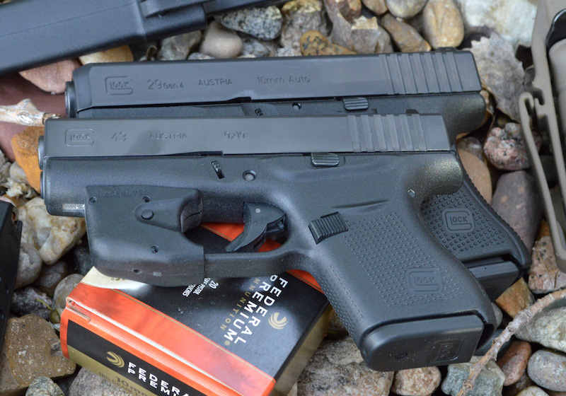 10mm Glock G29 under Glock G43 pistol