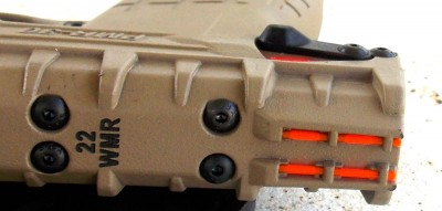 Kel Tec PMR30 with orange fiber optic rear sight