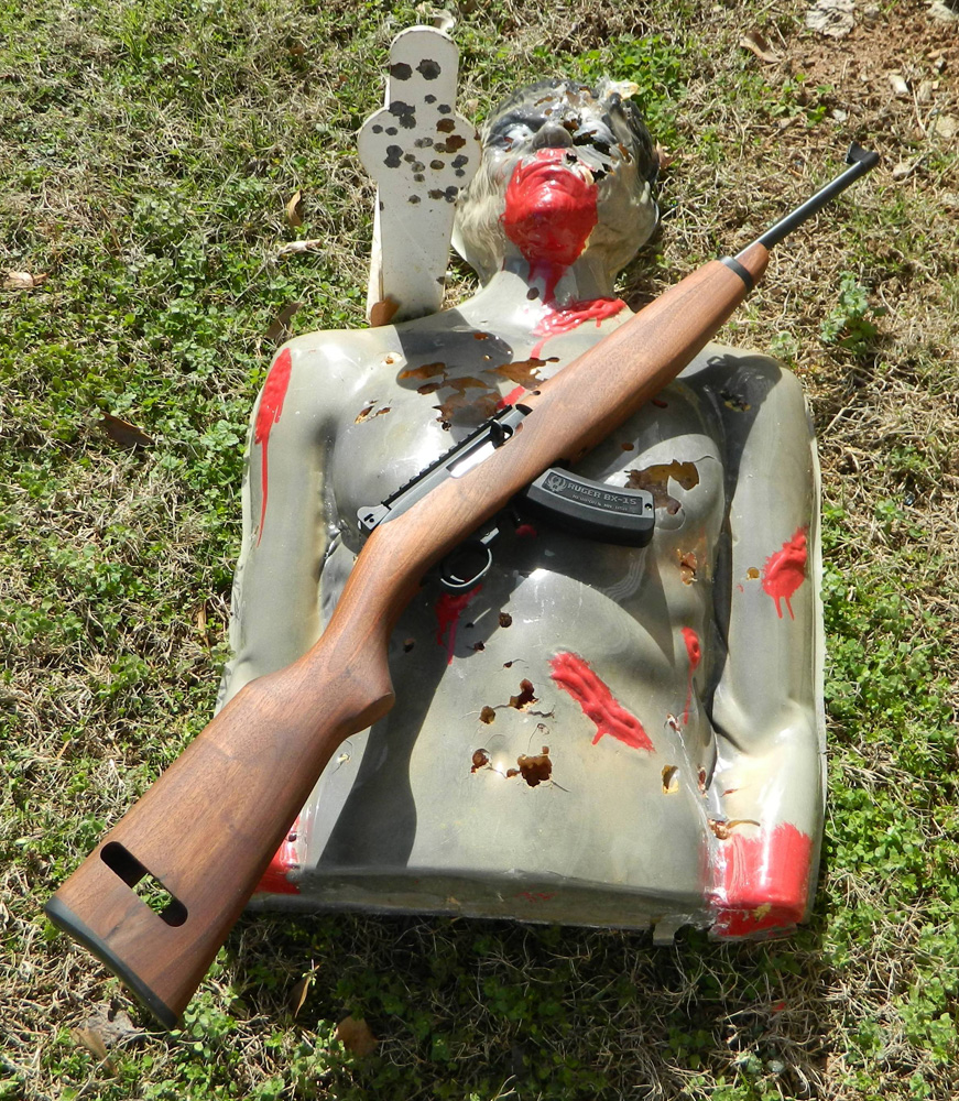Ruger .22 LR rifle on a zombie reactive target
