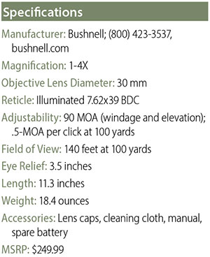 Bushnell 1-4x24 AK Optic specifications