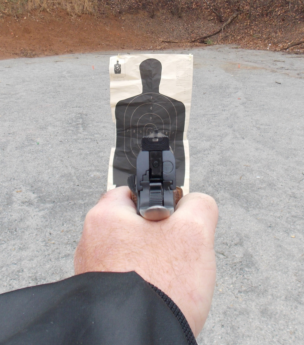 View down pistol sights at a target