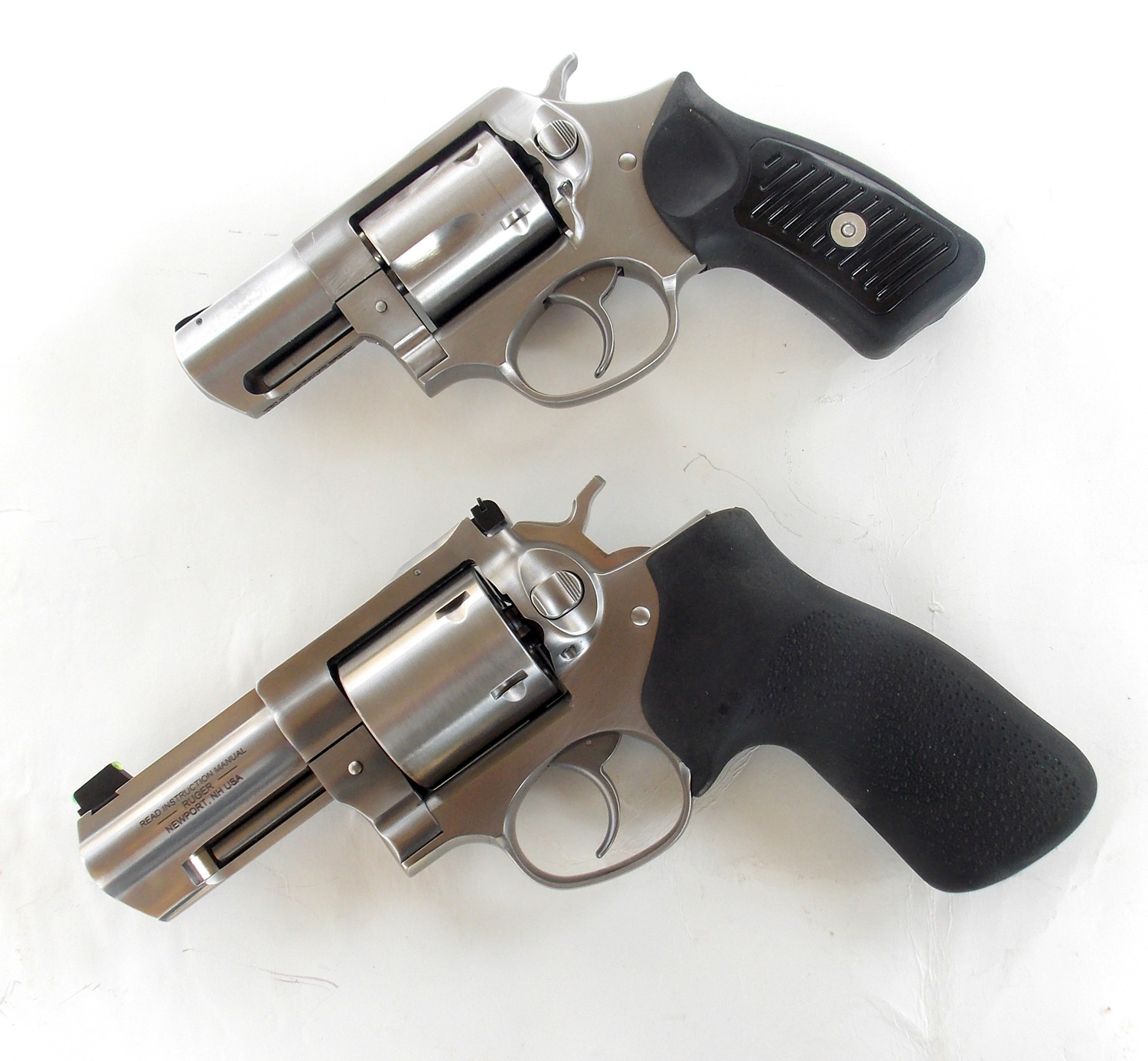 Ruger GP100 bottom and Ruger SP101 .357 Magnum top