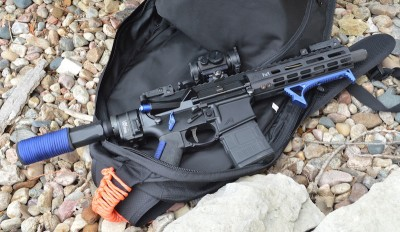 7.5-inch barreled AR-15 pistol in an open backpack