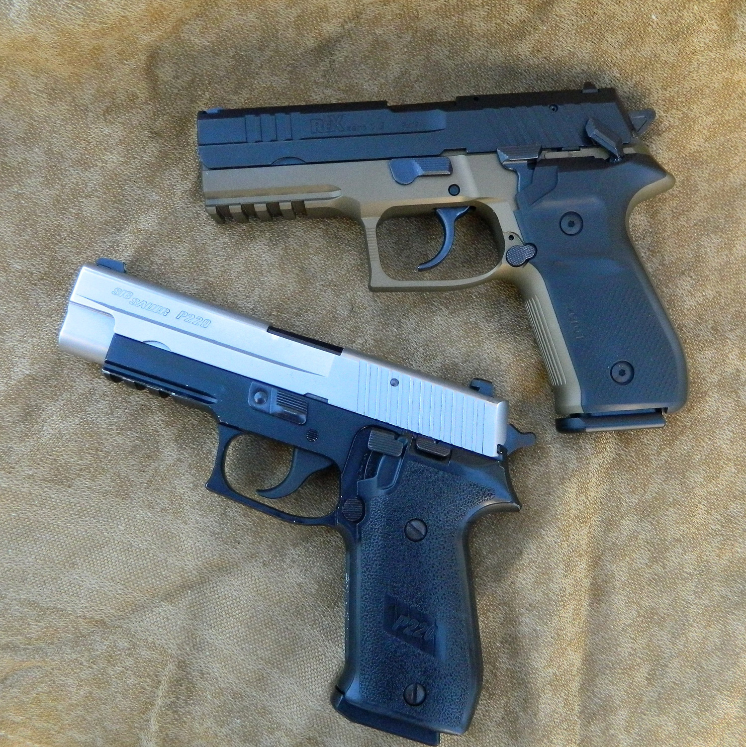 Arex Rex Zero pistol top and Sig Sauer P226 pistol bottom