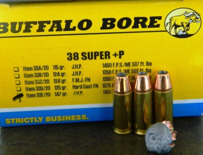 3 Buffalo Bore .38 Super bullets and one upset round