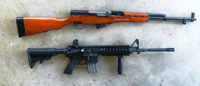 SKS rifle top, AR-15 rifle bottom