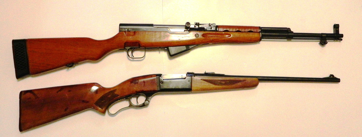 SKS rifle top, Savage Model 99 bottom