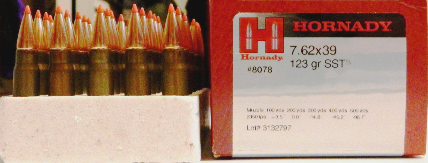 Box of Hornady ammunition with 7.62x39 A Max bullets - front