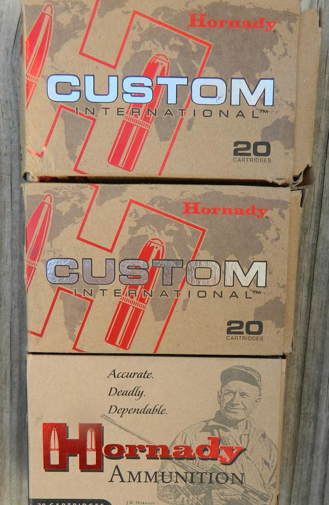 Hornady Custom International ammunition boxes