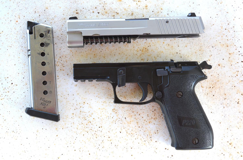 Fieldstripped SIG Sauer P Series pistol