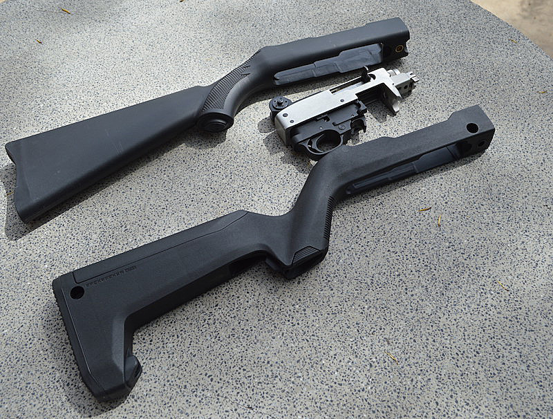 Factory Ruger 10/22 stock, receiver middle and Magpul X-22 Backpacker stock below