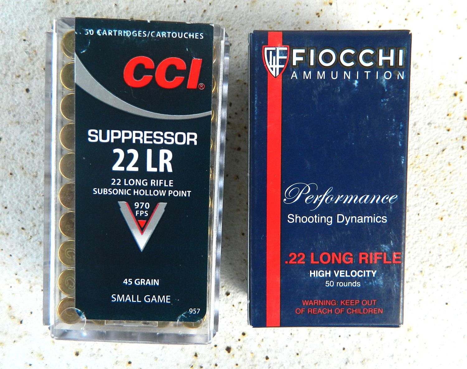 two boxes of .22 lr ammunition.