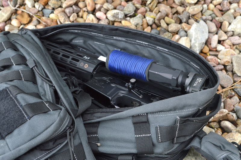 Law Tactical AR-15 Folding Stock Adapter with AR-15 stock folded in a backpack