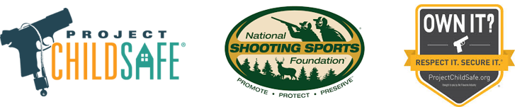Banner with Project Childsafe, National Shooting Sports Foundation, and Own It logos