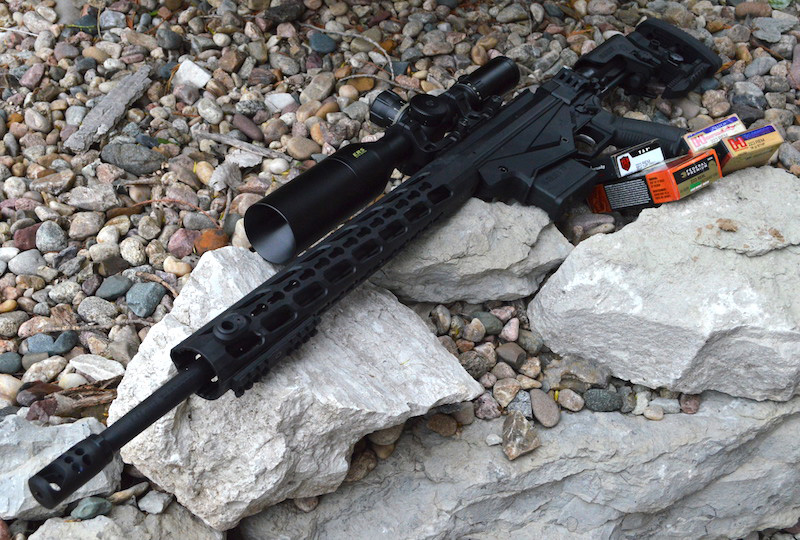 Ruger Precision Rifle laying on a bed of rocks