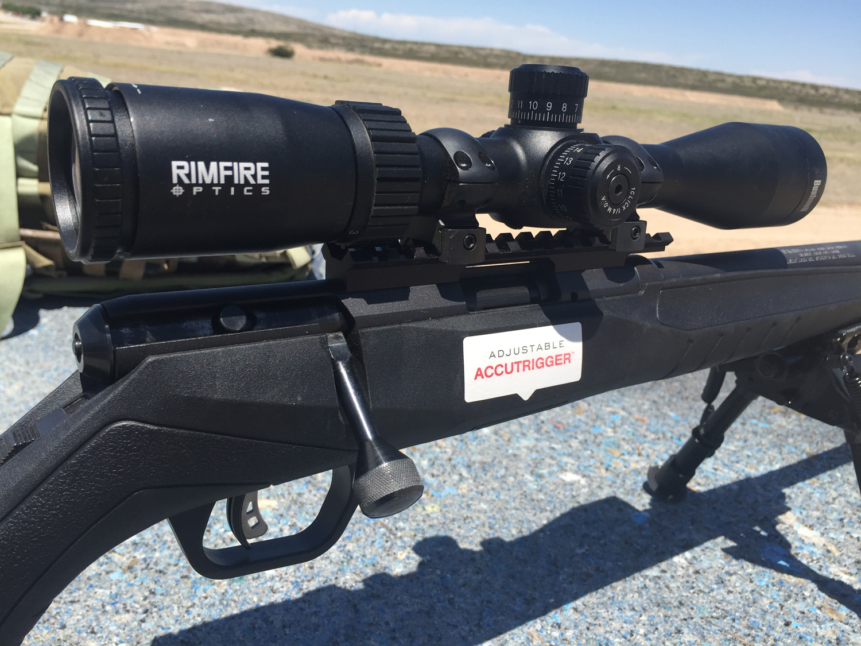Bushnell Rimfire Optics scope on a Savage B17 FV rifle