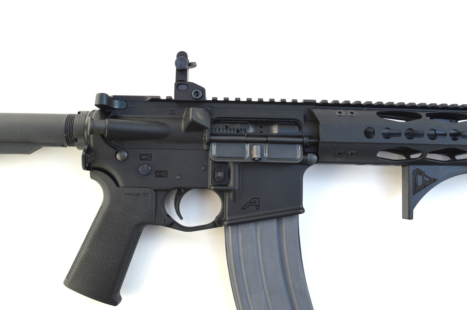 Picatinny top rail on an AR-15