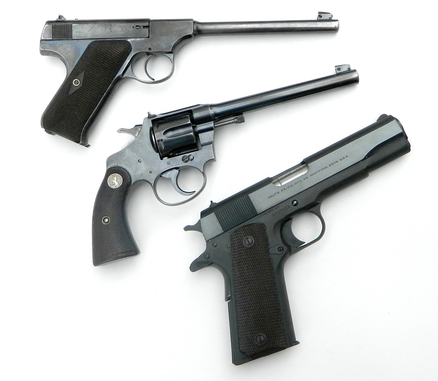 Three Colt .22s. Two from 1926 and one from 1948