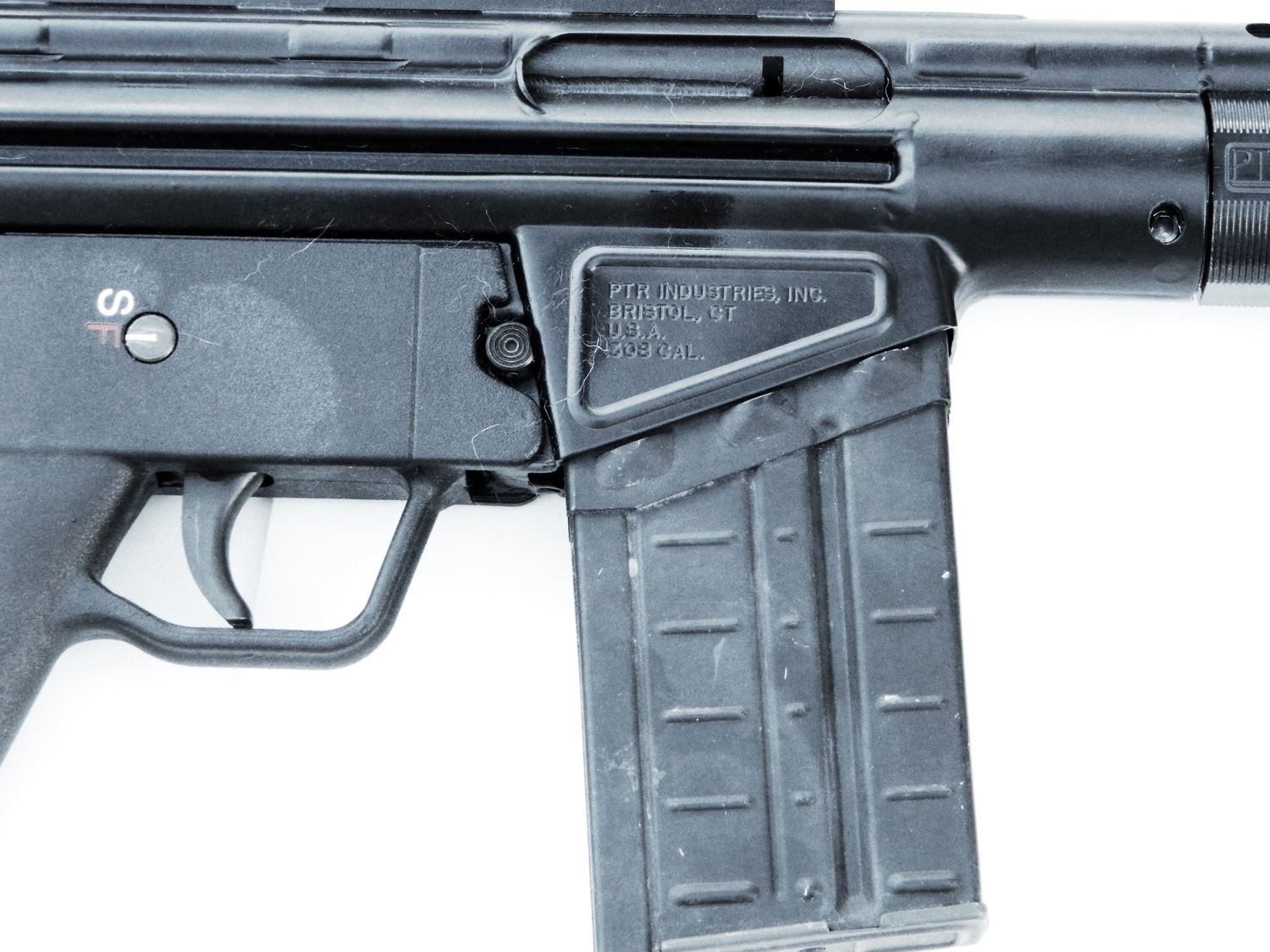 Magazine release on the PTR 91 rifle