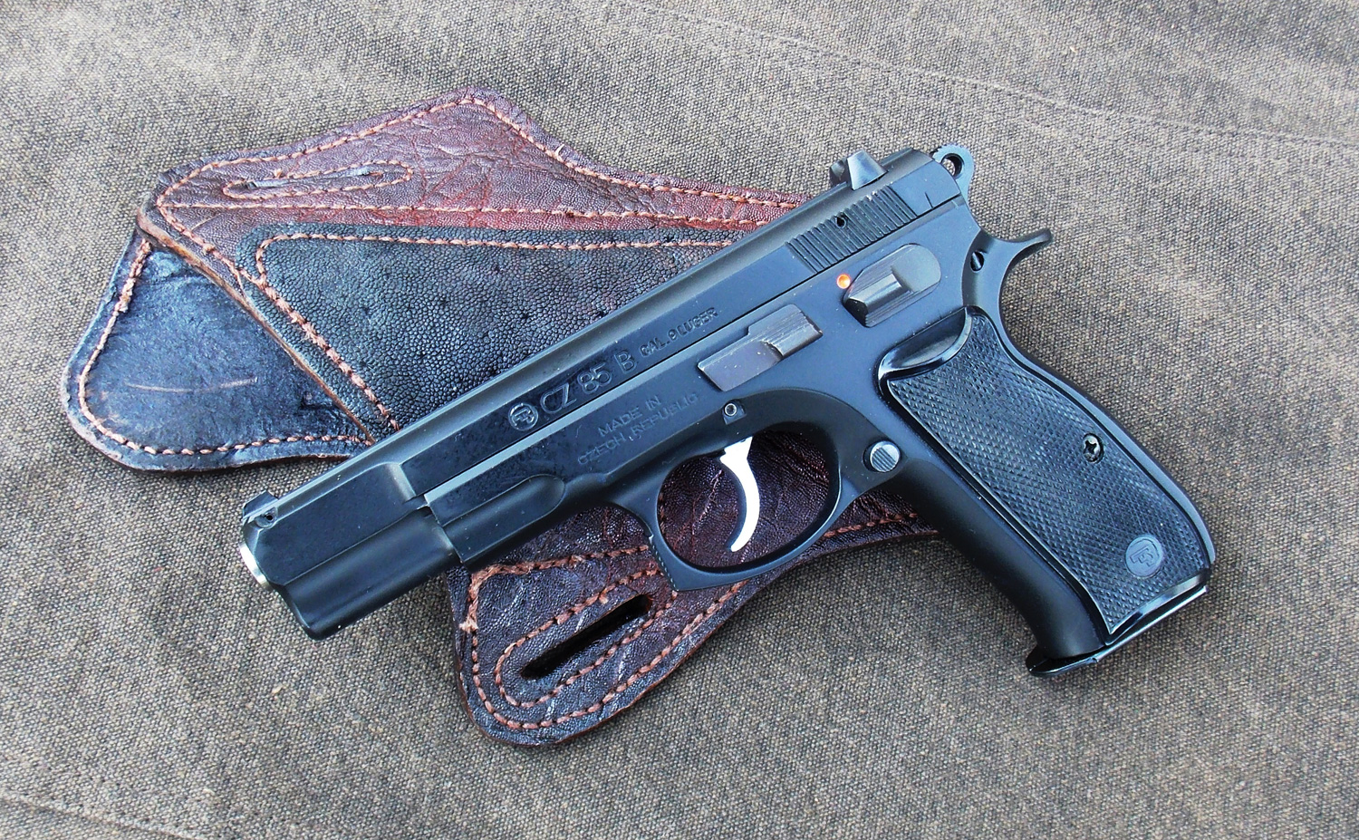 CZ 75 B pistol left profile on a custom holster