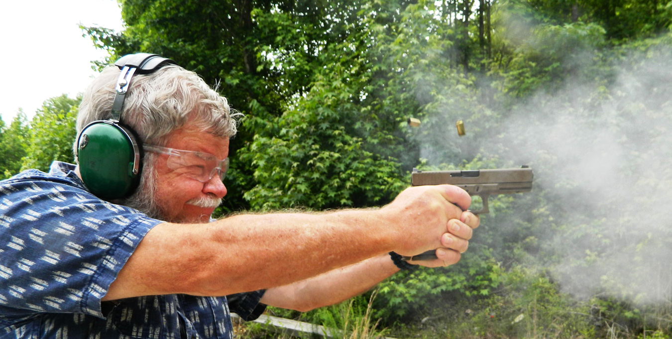 Bob Campbell shooting a pistol with +P ammunition