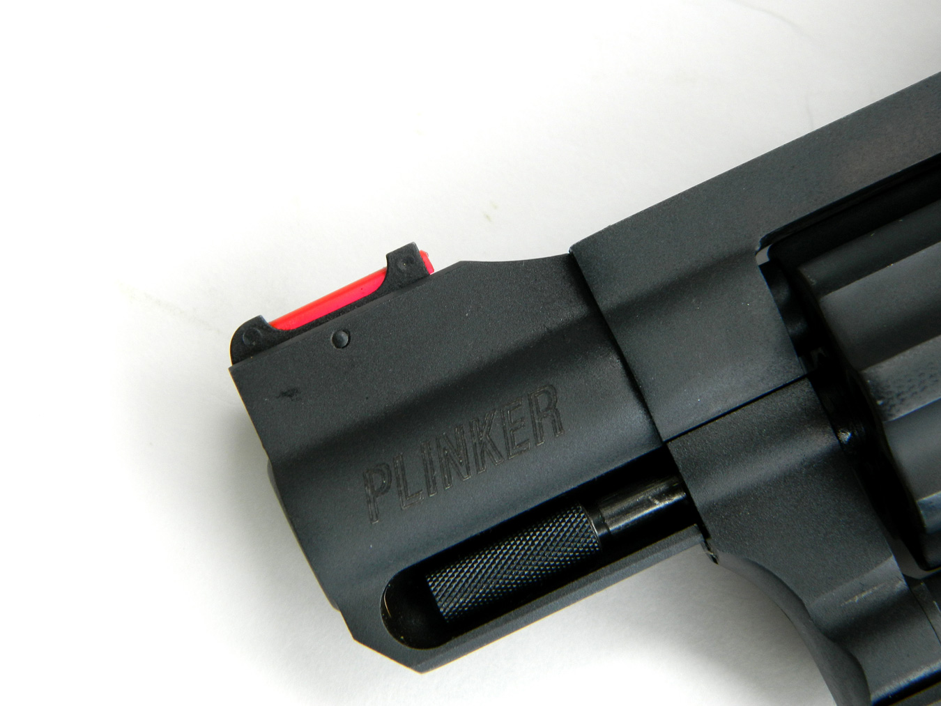 Fiber optic front sight on a short barrel revolver