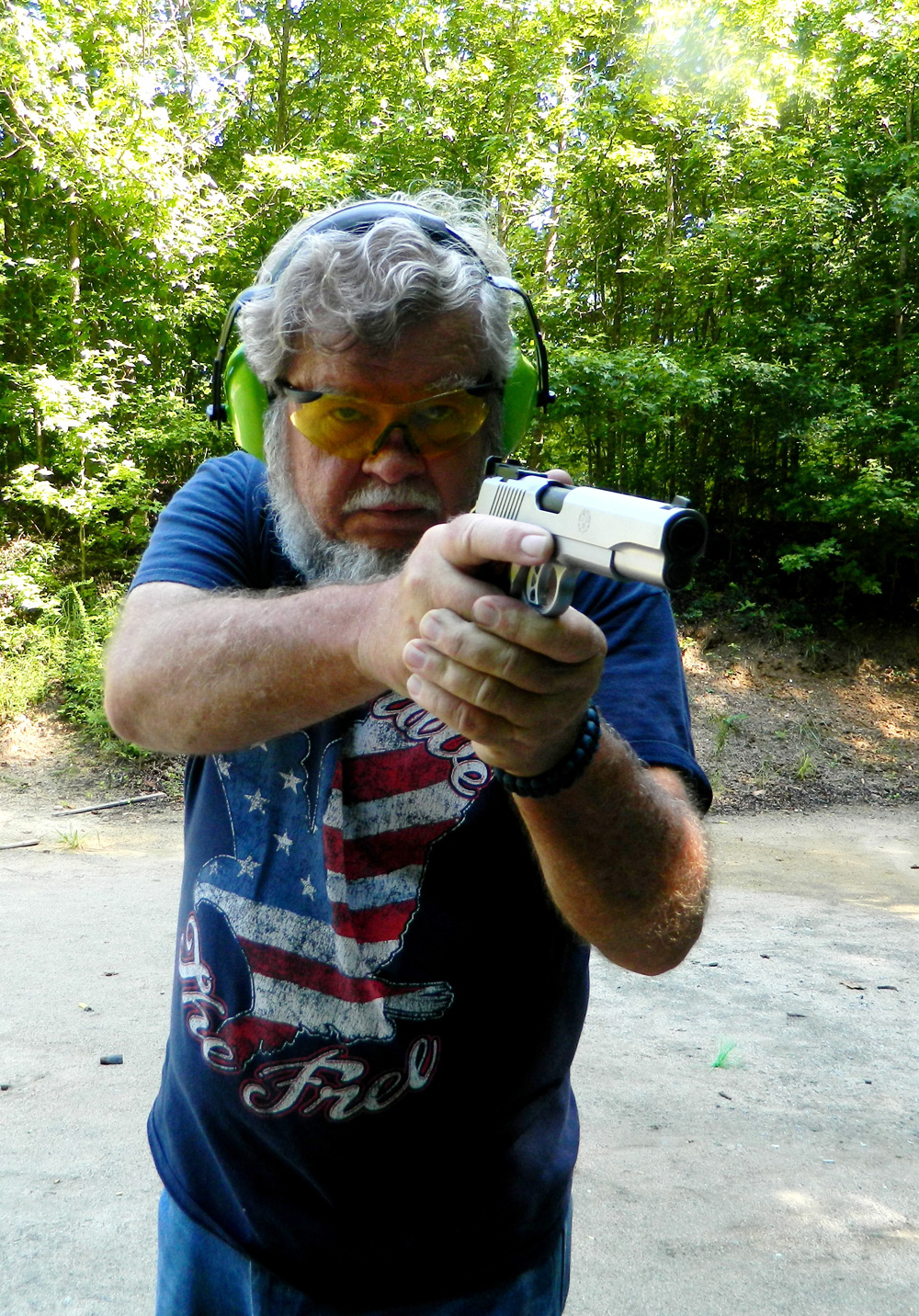 Bob Campbell firing the Ruger SR1911 10mm offhand