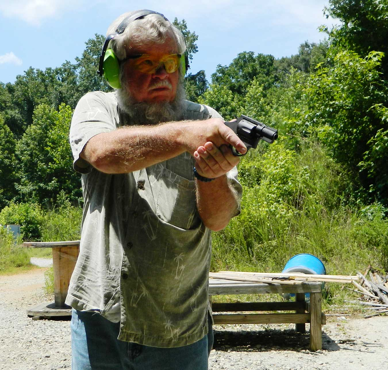 Bob Campbell shooting the M206 revolver offhand