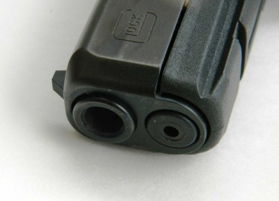 Recessed barrel crown on Glock G17 Gen 5 pistol