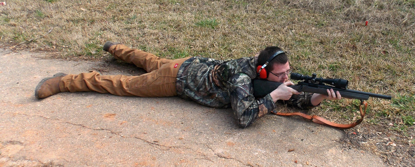 Shooting the Remington 700 with Hogue overmold stock from the prone position