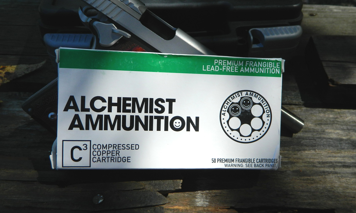 Green and white box of Alchemist ammunition