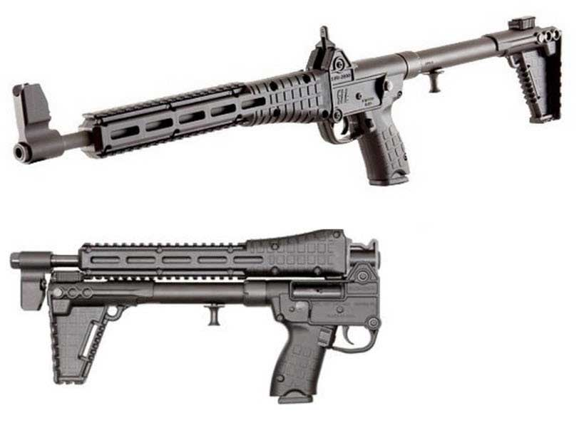 Kel-Tec SUB-2000 left profile top, right profile folded bottom